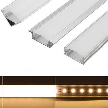 LUSTREON 45CM U/V/YW Style Aluminum Channel Holder For LED Rigid Strip Light Bar Cabinet Lamp