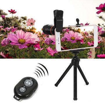 Telefono All in 1 fotografica lente 8X Telescopio Selfie bastone Tripod Bluetooth remoto Kit