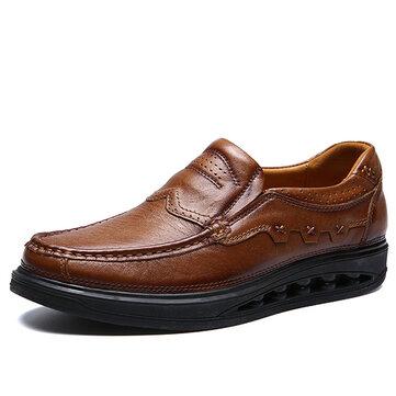 Men Comfy Genuine Leather Elastic Band Slip On Rocker Sole Oxfords Shoes