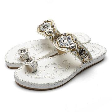 Sandali della Boemia della Boemia della donna calza il panno piatto della punta della cinghia della spiaggia casuale