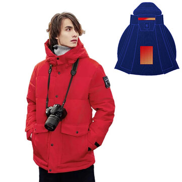 COTTONSMITH Smart Heated Jackets 4-Gears Control Outdoor Mens Vest Coat USB Electric Heating Hooded Jackets Warm Winter Thermal Clothing - Red 2XL