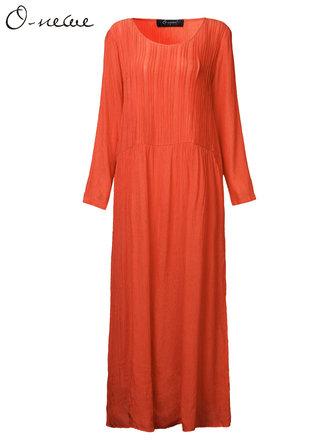 प्लस साइज महिला संक्षिप्त ठोस आरामदायक आरामदायक मैक्सी ड्रेस