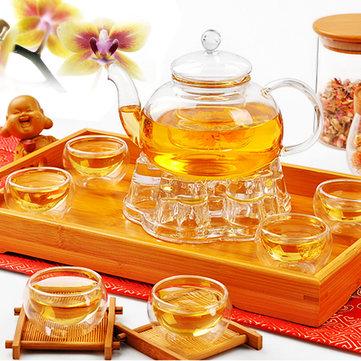 Kinesisk Gongfu glas tepot sæt med infuserfilter te lys varmere 6 kopper