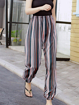 How can I buy Plus Size Cotton Women Colorful Stripe Elastic Waist Cotton Smooth Pajama Pants with Bitcoin