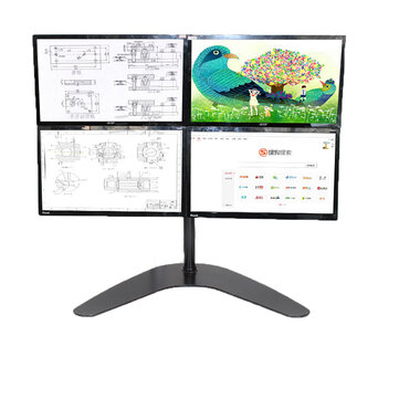 Quad LCD Computer Monitor Laptop Stand Mount Free Standing Heavy Duty Desk Stand Fully Adjustable Holds 4 Screens up to 30 inches