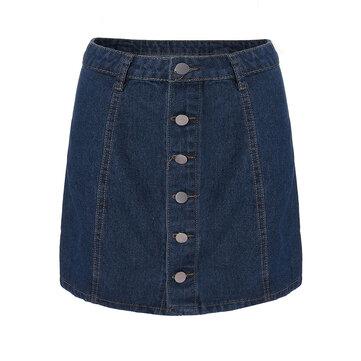 Las mujeres ocasionales de la vendimia solo botón de alta cintura de la falda de mezclilla azul