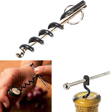 Multifunctional Outdoor Mini EDC EStainless Steel Corkscrew Wine Bottle Opener With Keychain Ring