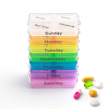 KCASA KC-JS0703 Portable Pill Case Organizer Weekly Travel Medicine Box  Tablets Case Holder