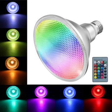 E27 10W COB PAR38 Proyector RGB Cambio de color luz LED Lámpara Bombilla Control remoto AC85-265V