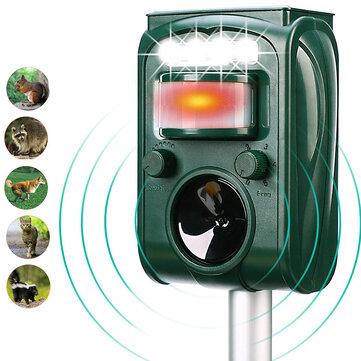 KCASA KC-501 Garden Solar Powered Ultrasonic Outdoor Animal Pest Repeller Motion Sensor Flash Light Dog Cat Raccoon Rabbit Animal Dispeller