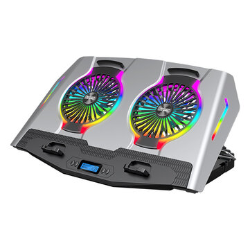 ICE COOREL Cooling Pads for 14_21 inches with Adjustable Height and Wind Speed, RGB Light, Quiet Double Fans, Two USB Ports and One Phone Stand