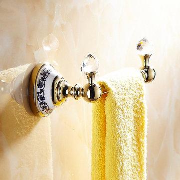 WANFAN 6318 Home Bathroom Decoration Luxury Double Hooks Crystal Wall Mounted Robe Holder Towel Rack