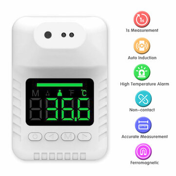 Non contact Wall Mount Smart Sensor Portable Automatic Body Temperature Detector Infrared Forehead Thermometer High Precision Coupon Code and price! - $13