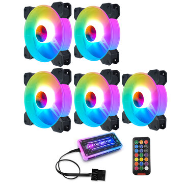 Coolmoon 12cm RGB Cooling Fans Quiet Computer Case Chassis Fan Computer PC Cooler for PC Computer CPU