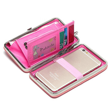 Women Candy Color Bowkot 5.5 Inch Phone Wallets Case Hasp Long Purse Clutches Iphone Samsung