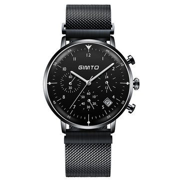 GIMTO GM245 Luminous Display Business Style Watch Stainless Steel Men Sport Quartz Watch