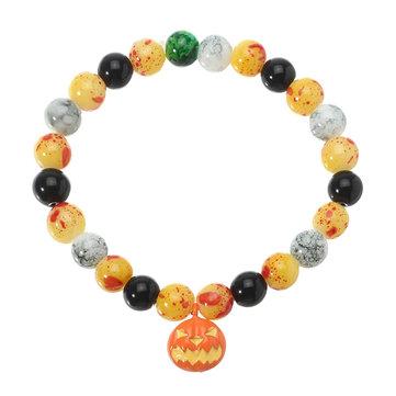 Halloween Pumpkin Skull Head Bracelet Đàn hồi Chuỗi hạt Chuỗi vui