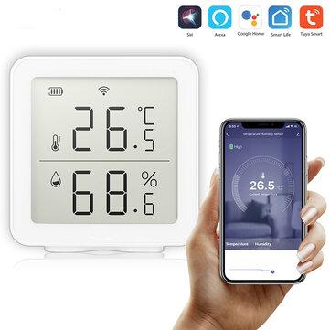 Bakeey Tuya WIFI TemperatureandHumidity Sensor Work With Alexa Indoor Hygrometer Thermometer LCD Display Intelligent Linkage For Smart Home