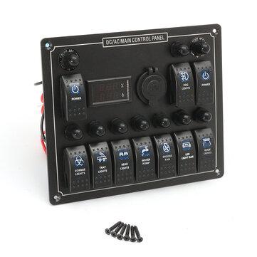 12-24V 10 Gang Azul Marino de Barco LED Panel de Interruptor Basculante Voltímetro de Disyuntor