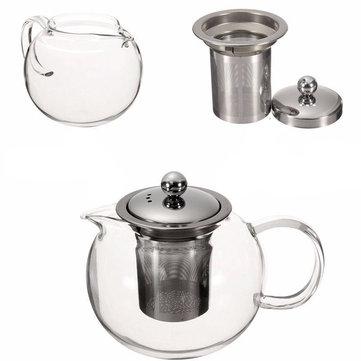 600/950 / 1300ml Klar rustfrit stål varmebestandig glaspotte infusionspotte