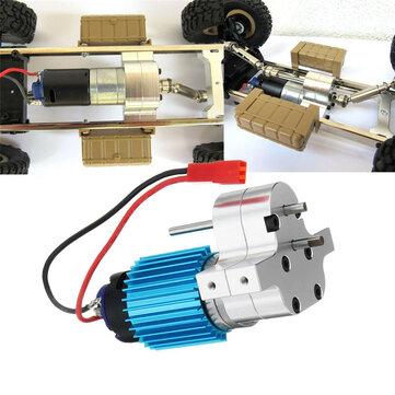 1PC Engranaje de transferencia de metal Caja W / 370 motor para WPL B-16 B-24 B-36 C24 JJRC Q60 Q61 4WD 6WD RC Coche