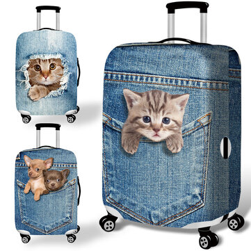 होनाना डेनिम 3 डी प्यारा बिल्ली कुत्ता लोचदार सामान कवर ट्रॉली केस कवर टिकाऊ सूटकेस रक्षक 18-32 इंच क