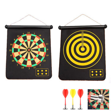 12 or 15 or 17inch Double sided Magnetic Dart Target Set with Magnetic Safety Dart Foldable Home Toys Indoor Target Board