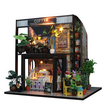 DIY Casa de muñecas casa de muñecas muebles de barra de café hecha a mano casa de muñecas con luz LED