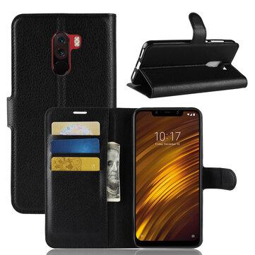 Bakeey Flip Kart Yuvası PU Deri Kapak Koruyucu Xiaomi Pocophone F1 Için Kılıf