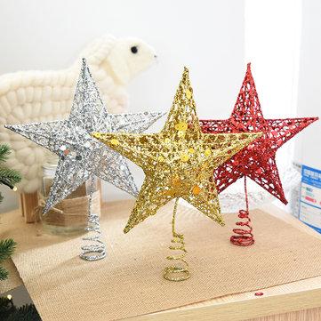 क्रिसमस टेबल सजावट के लिए क्रिसमस ट्री टॉपर स्टार प्लास्टिक क्रिसमस स्टार ट्री टॉपर रंगीन क्राफ