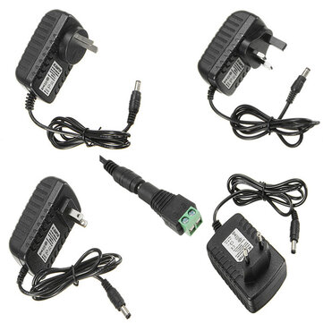 LUSTREON AC100-240V TO DC12V 2A 24W Power Supply Adapter For Strip Light + Female Connector