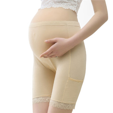 How can I buy Cosy Lace trim Modal High Waist Hip lifting Adjustable Pure Color Thin Breathable Maternity Pants For Women with Bitcoin