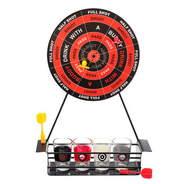 KCASA BT-500 Creative Mini Magnet Darts Toy Shot Set Party Entertainment Drinking Game with Glass