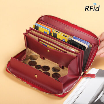 Brenice Women RFID Blocking Cowhide Zipper Long Wallet Large Capacity Card Holder Coin Purse