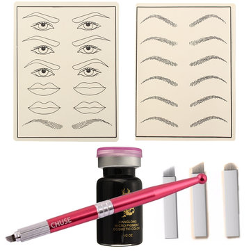 Permanent Ögonbrynpennpraxis Set Tattoo Machine Microblading Needle Eye Makeup för lärare