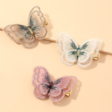 Buy Hand Embroidery Butterfly Hairpin Duckbill Clip Korean Version Bangs Clip with Litecoins with Free Shipping on Gipsybee.com