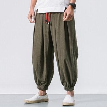 Men's Cotton Loose Comfy Baggy Vintage Drawstring Jogger Casual Harem Pants
