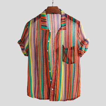 c1d8c24faf01 Mens Colorful Striped Printed Chest Pocket Vintage Loose Lightweight Shirts