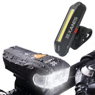 XANES 600LM אופני התקן הגרמניים אופניים קדמיים לד 500LM USB נטענת נורית לד Tailight Set