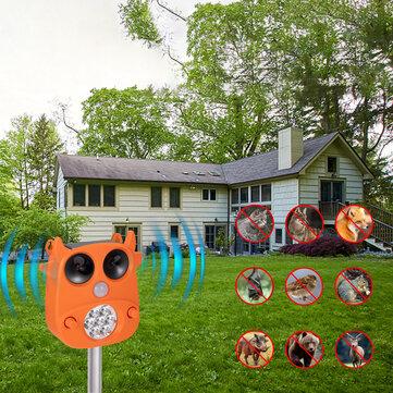 JLT-866 Solar Ultrasonic Animal Repeller 7 LED Flashing Light Frighten Animals Garden PIR Sensor Bird Cats Dog Repellent
