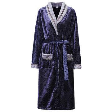 शीतकालीन मोटा फ्लानेल कार्डिगन बाथरोब आरामदायक महिला पुरुषों के लिए गर्म नाइटवियर रखें