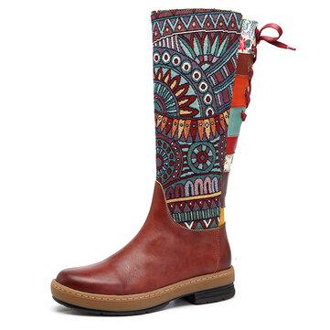 SOCOFY Thêu mẫu nối giày bằng da Giày cao đến đầu gối