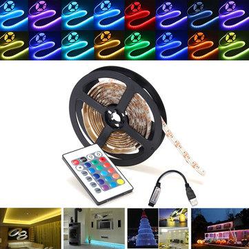 0.5/1/2/3/4/5M RGB SMD5050 Waterproof LED Strip Light TV Backlilghting Kit + USB Remote Control DC5V