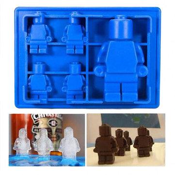 Robot Mini Figura Cubo de Hielo Bandeja Molde para Hornear Molde Pastel de Chocolate Molde de Silicona Aficionado Jelly Jello
