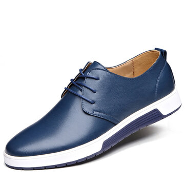 Men Leather Flat Outdoor Casual Lace Up Soft Round Toe Oxfords Sneaker Shoes