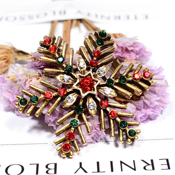 New Creative Design Christmas Brooch Women Jewelry Festival Gift With Colorful Rhinestones