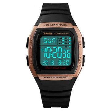 Đồng hồ LED chống nước SKMEI 1278 ngoài trời 50M nam Ngày hiển thị sáng Đồng hồ đếm ngược thể thao kỹ thuật số