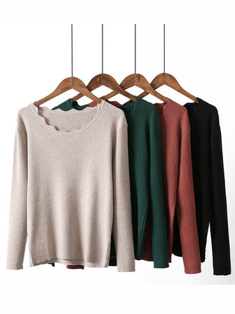 High Elastic Women Wave Round Neck Shirt Pullover Knitted Sweater