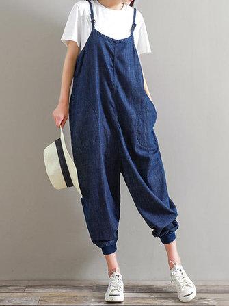 M-5XL Women Strap Harem Trousers Pure Color Casual Denim Jumpsuits