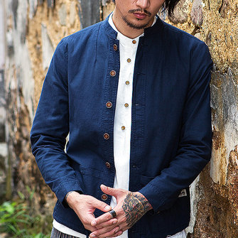 पुरुषों के लिए विंटेज चीनी स्टाइल कपास लिनन लंबी आस्तीन स्लिम फिट स्टैंड कॉलर जैकेट